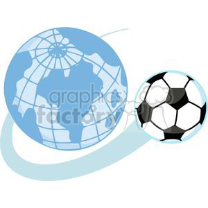 300x300 Royalty Free Soccer Ball Flying Around A World Globe 379885 Vector
