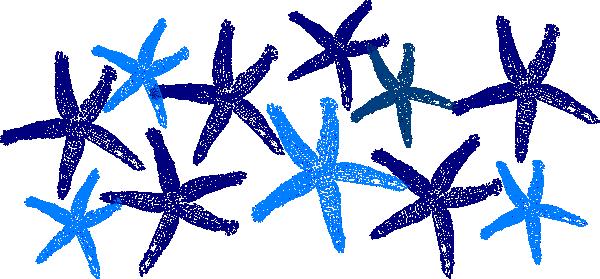 600x279 Blue Starfish Clip Art