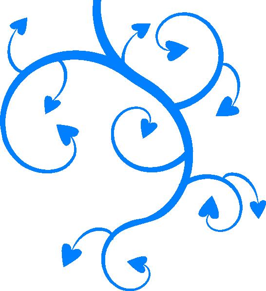 546x596 Blue Swirl Heart Clipart