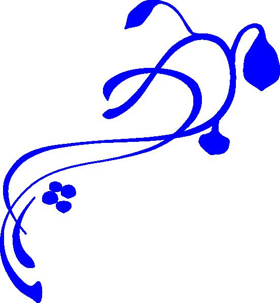552x598 Blue Swirl Vine Clip Art