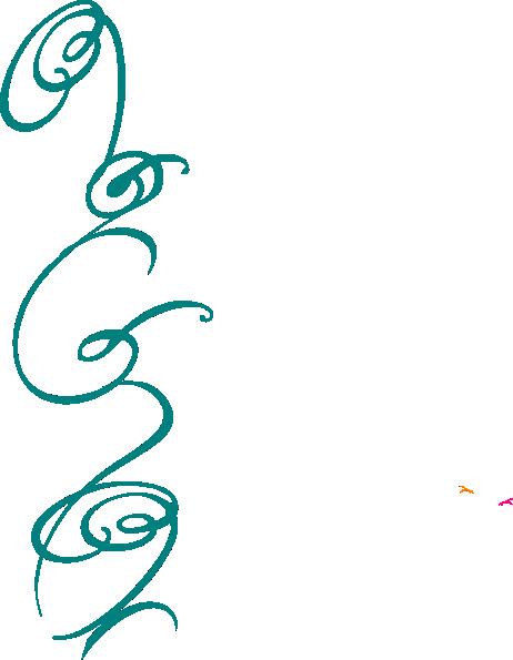 462x595 Blue Decorative Side Swirl Clip Art