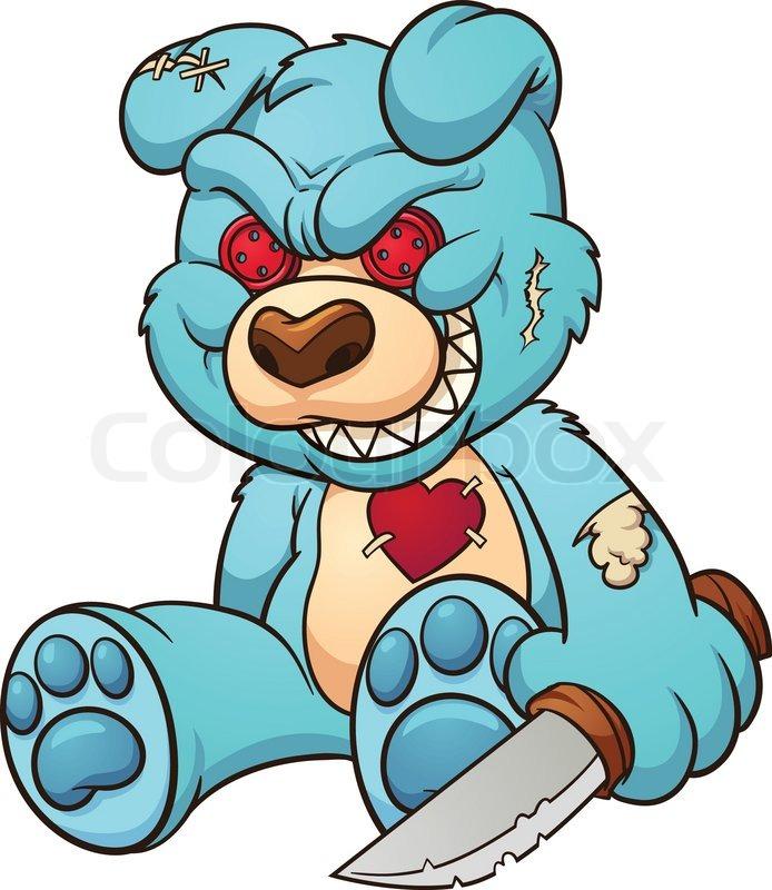 694x800 Evil Teddy Bear. Vector Clip Art Illustration With Simple