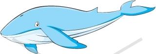 320x112 Friendly Blue Whale Cartoon