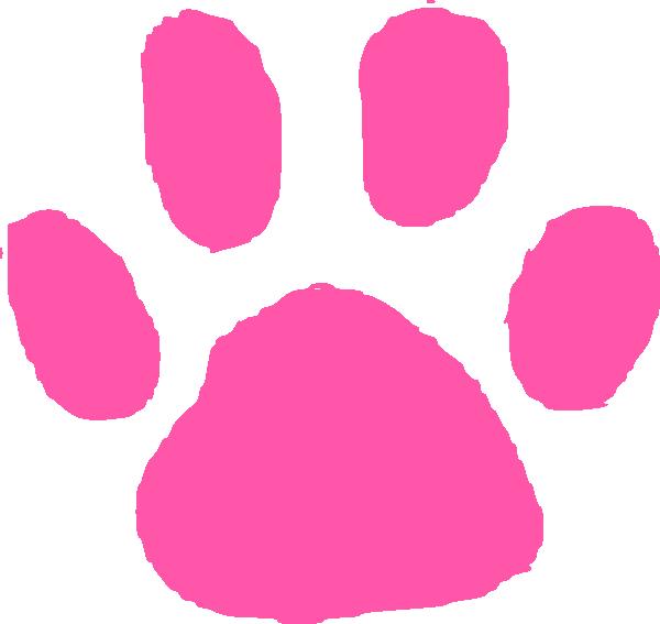 600x567 Bubblegum Pink Paw Print Clip Art