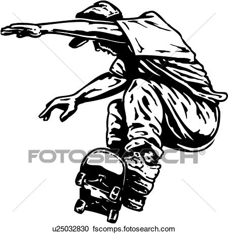 450x461 Clipart Of Illustration, Lineart, Skateboarder, Skateboard, Skate