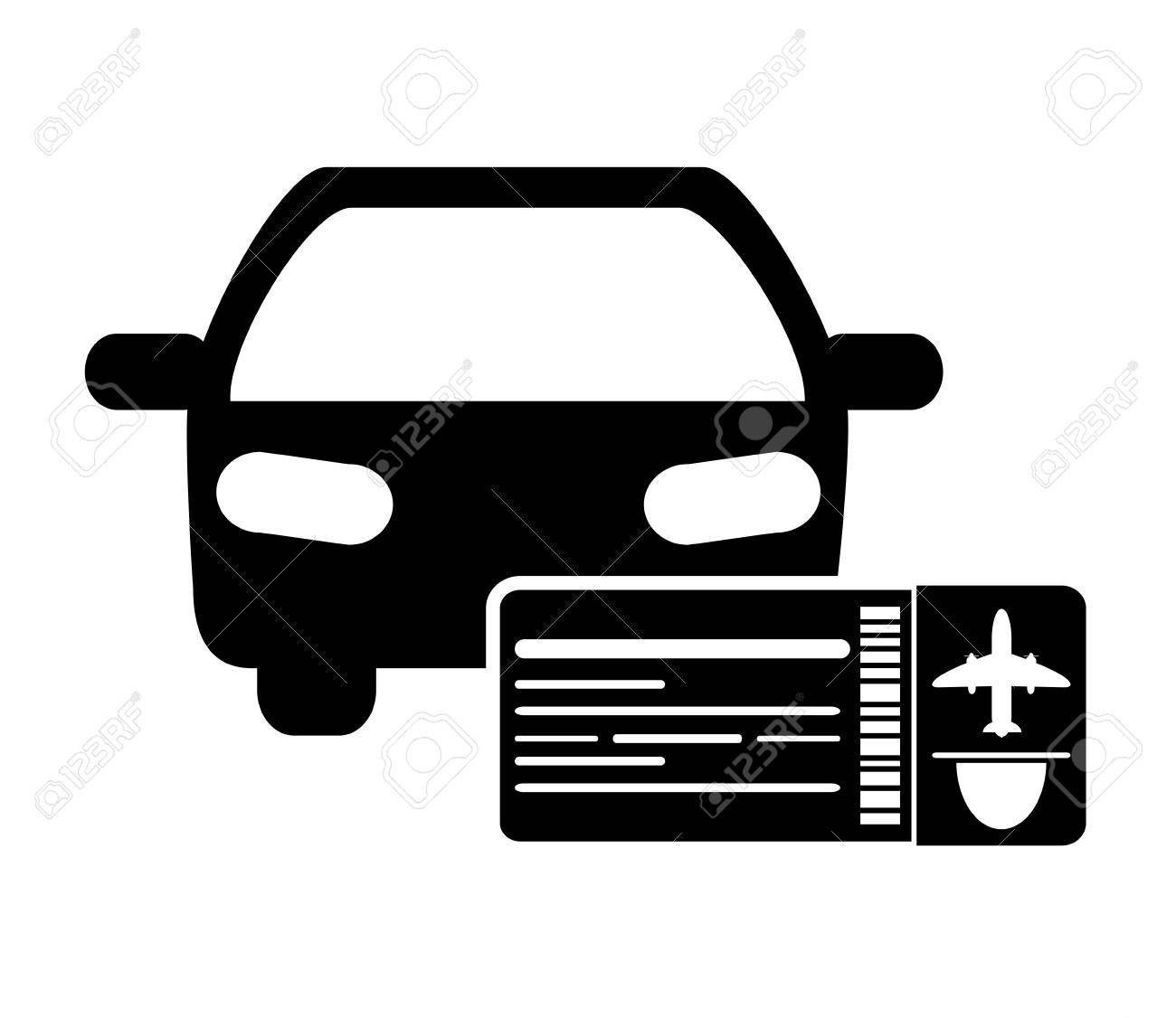 1300x1126 Flat Design Car And Boarding Pass Icon Vector Illustration Royalty