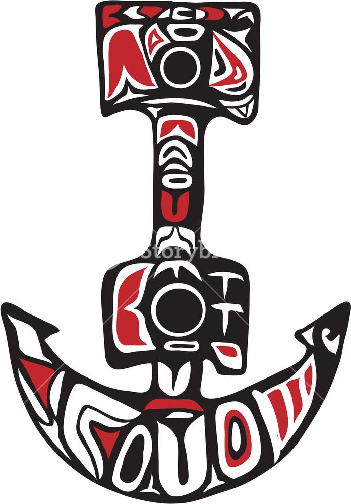 696x1000 Northwest Coast Art Style Illustration Of A Boat Anchor Set