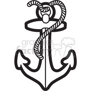 300x300 Royalty Free Boat Anchor With Rope Graphic Illustration Black