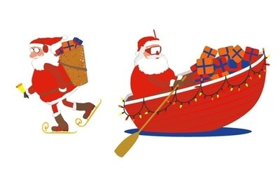 400x253 Santa Skates And Boat, Cliparts