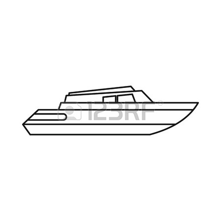 450x450 Fishing Boat Icon. Outline Illustration Of Fishing Boat Vector