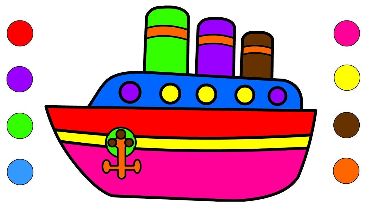 1280x720 Boat Coloring Pages For Kids Children Toddlers