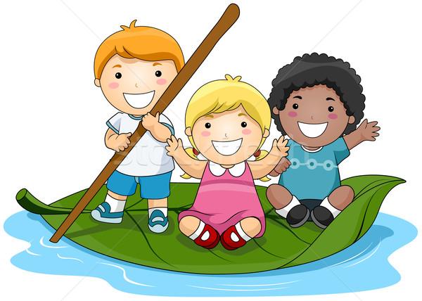 600x428 Children On Leaf Boat Vector Illustration Lenm ( 355544