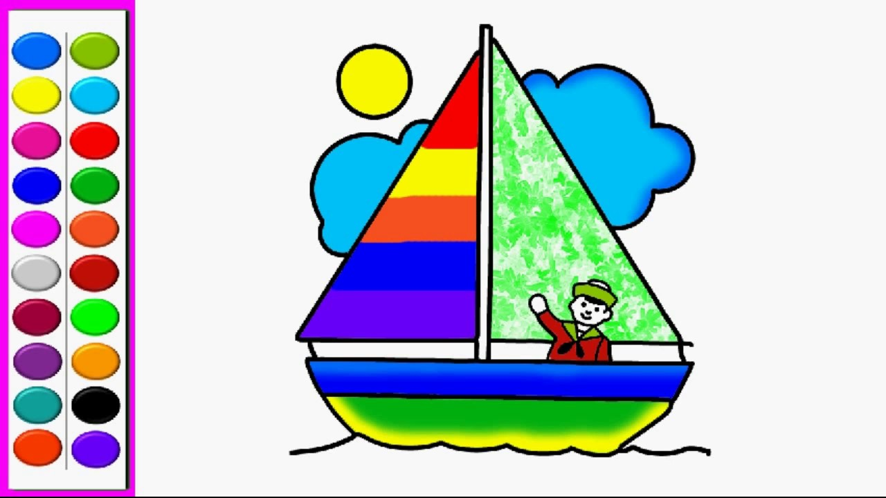 1280x720 How To Draw Sailing Boat Coloring Pages Sailing Boat Kids Learn