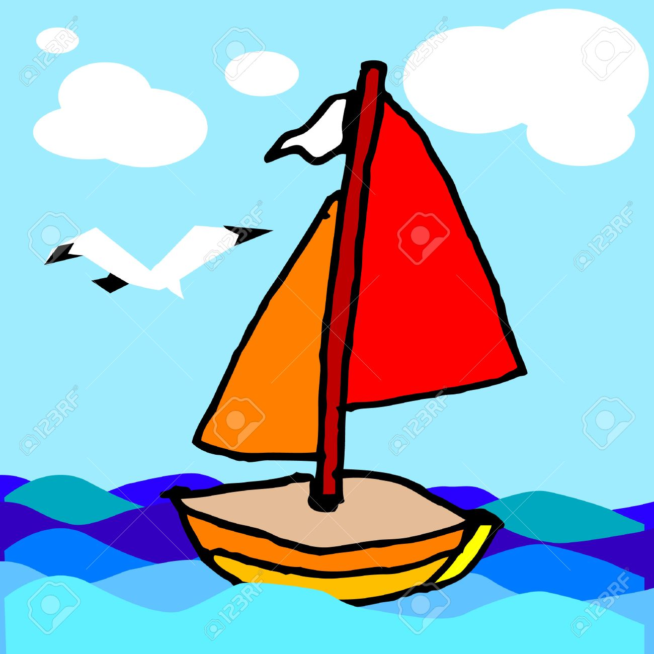 1300x1300 Sailing Boat, Children's Art Drawing, Vector, Illustration Royalty