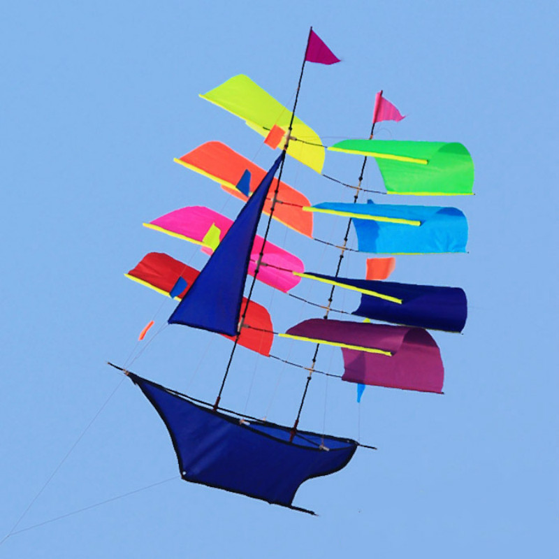 800x800 Stereo Sailing Boat Kite Flying Colorful Single Line Kite Outdoor
