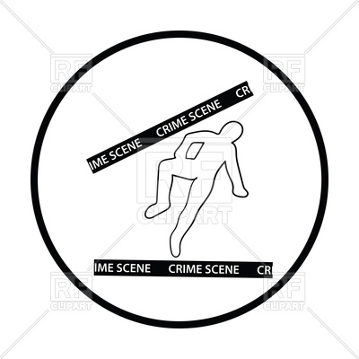 400x400 Crime Scene Icon, Dead Body Outline Royalty Free Vector Clip Art