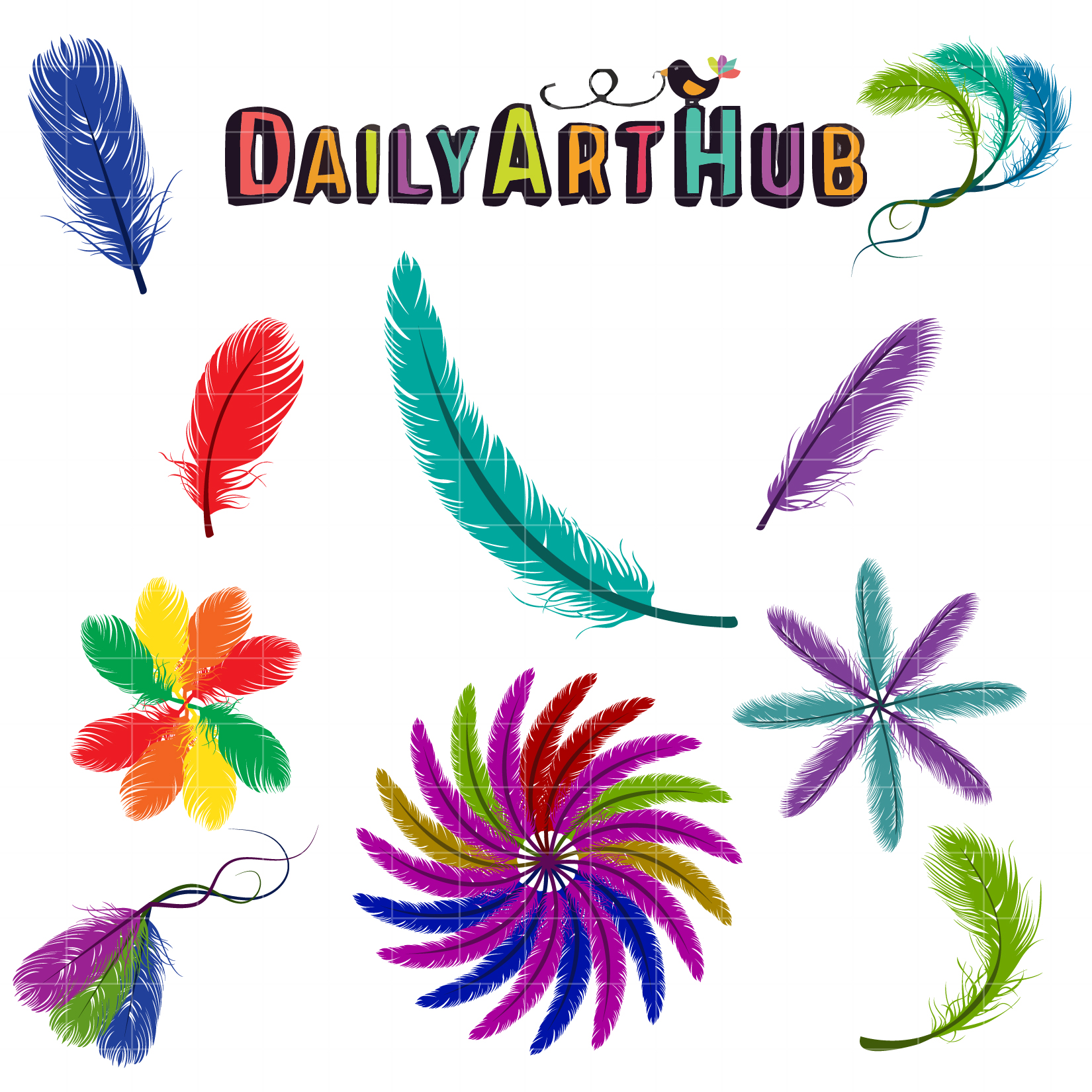 1650x1650 Colorful Feather Designs Clip Art Set Daily Hub ~ Loversiq