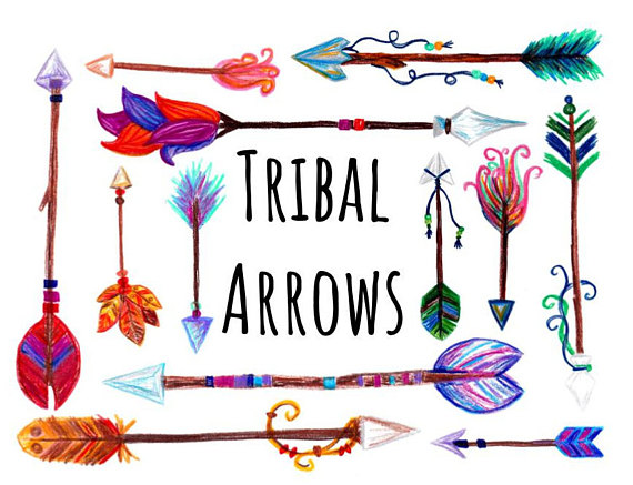 570x437 Hand Drawn Boho Arrows Clipart, Woodland Arrows Clip Art, Hand
