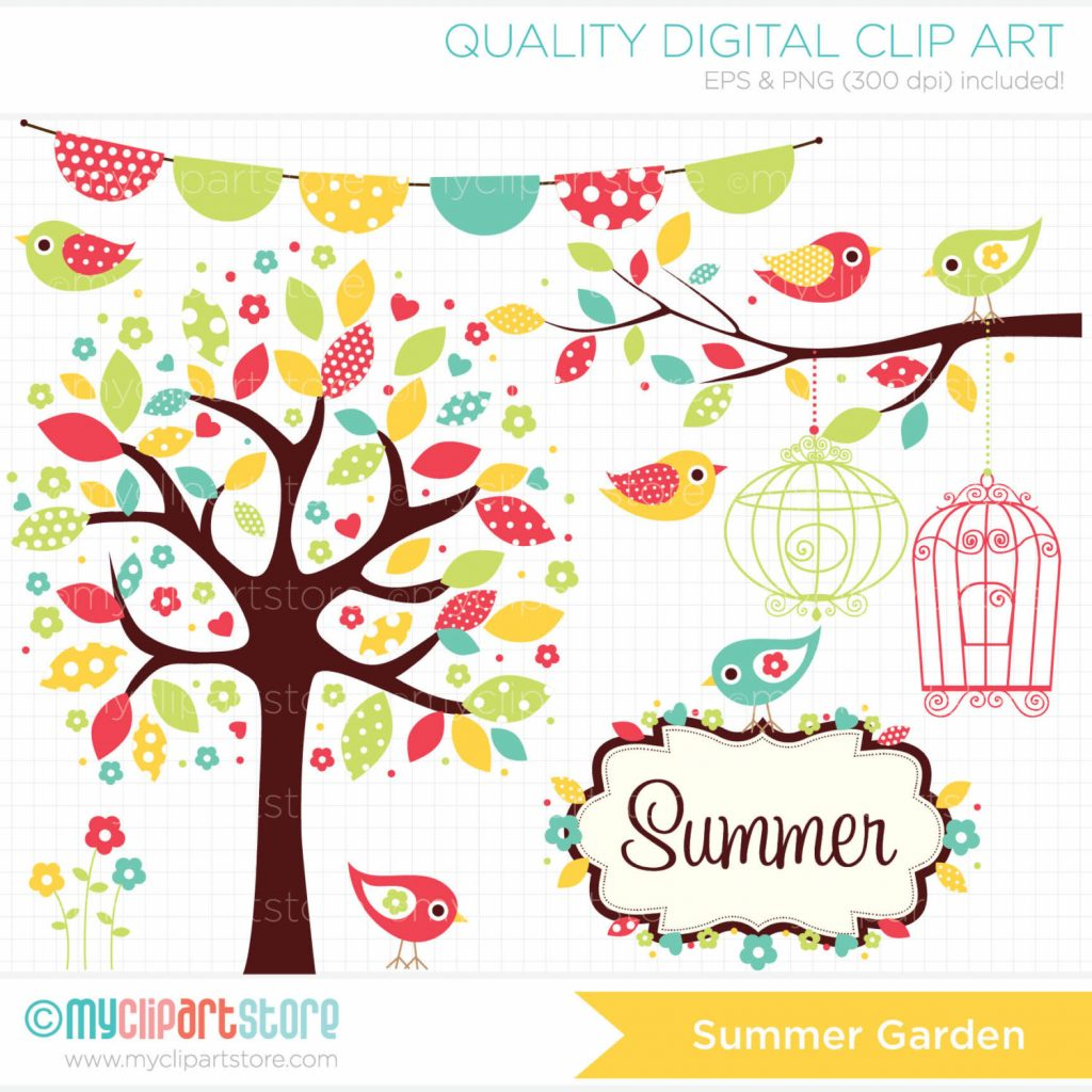 1024x1024 Superb Digital Clipart Bohemian Bird Garden Summer Clip Art