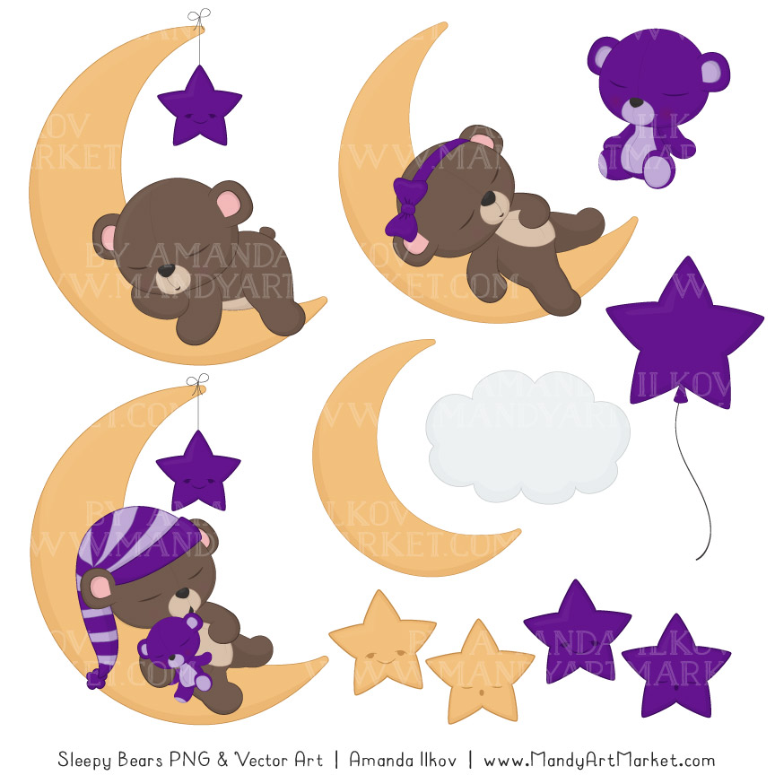 864x864 Violet Sleepy Bears Clipart