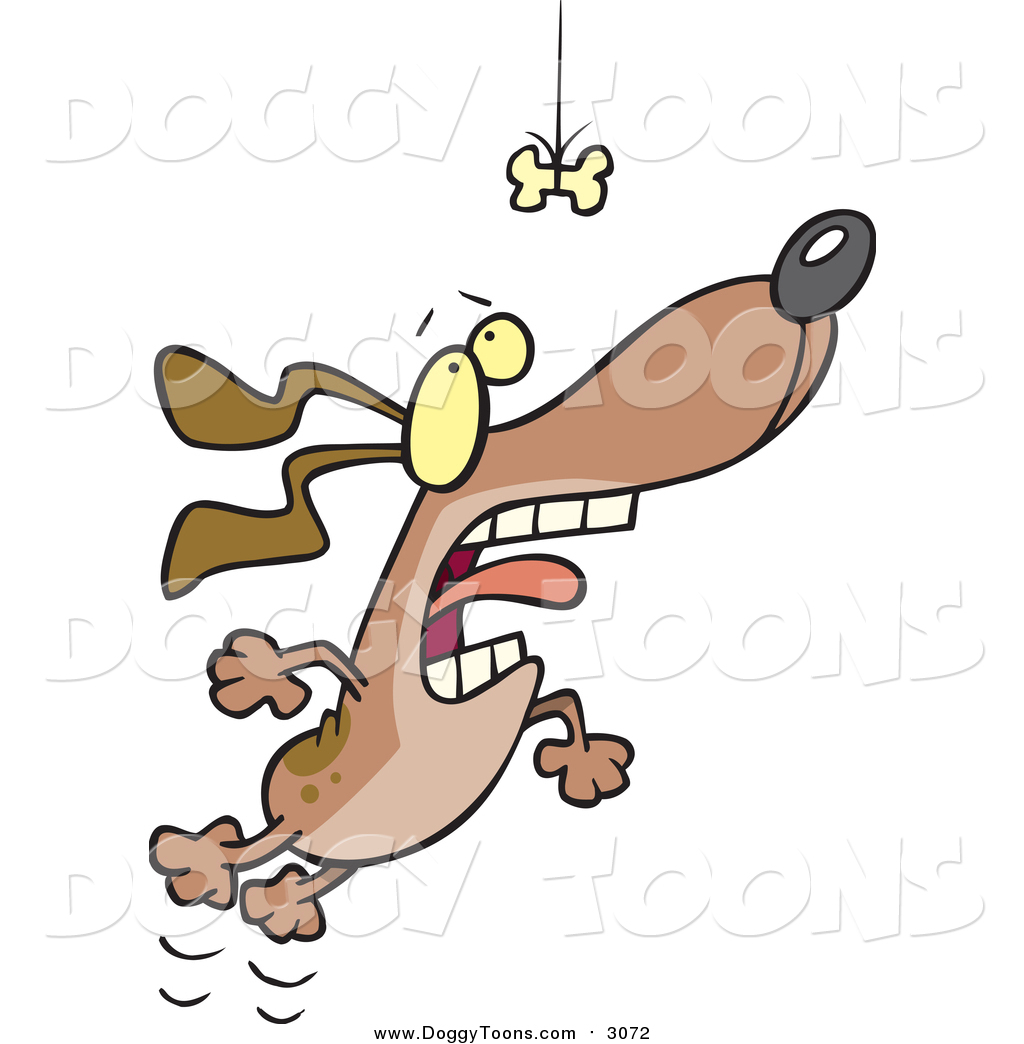 1024x1044 Doggy Clipart Of A Motivated Dog Leaping For A Suspended Bone By