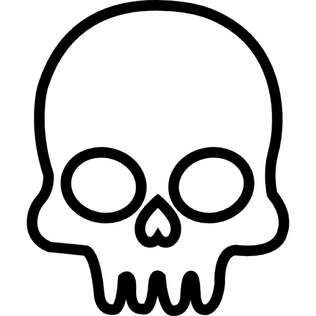 626x626 Skull Outline From Frontal View Icons Free Download