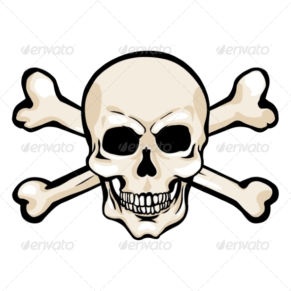 590x590 Vector Cartoon Pirate Skull With Cross Bones By Nikiteev