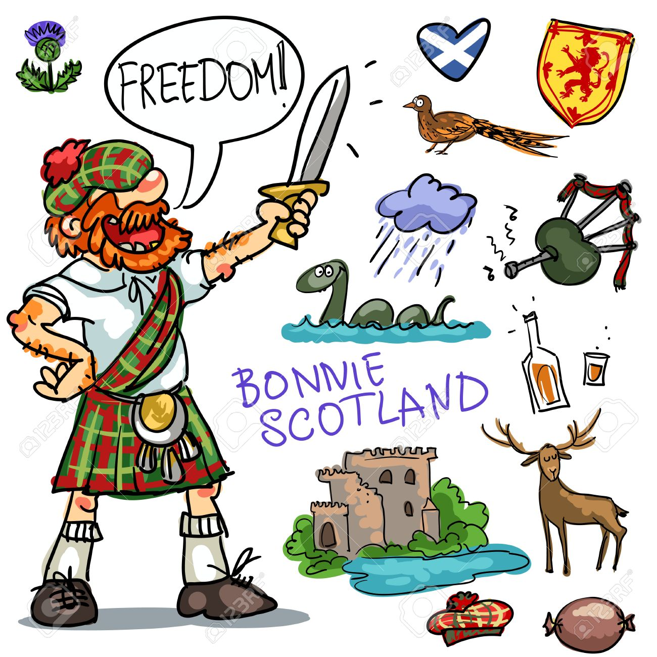 1300x1300 Bonnie Scotland Cartoon Collection, Funny Scottish Man With Sword