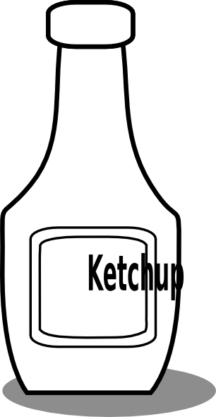 306x590 Ketchup Black And White Clip Art