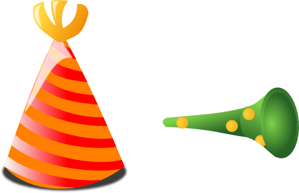 600x388 Birthday Hat And Horn Clip Art