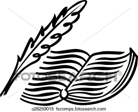 450x364 Clipart Of Calligraphic Design Of A Feather Pen And Book U26259015