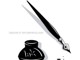 310x233 Book Vector And Feather Ink Pen Clip Art (Free) Free Vectors