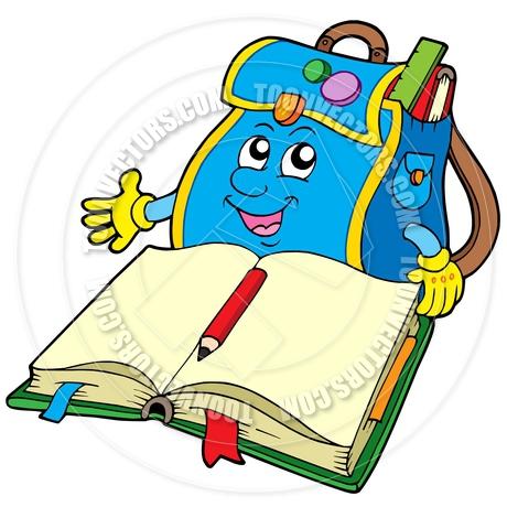 460x460 Cartoon School Bag Reading Book By Clairev Toon Vectors Eps