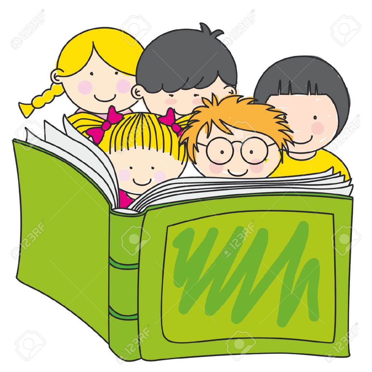 1300x1300 12352600 children reading a book Stock Vector cartoon book books