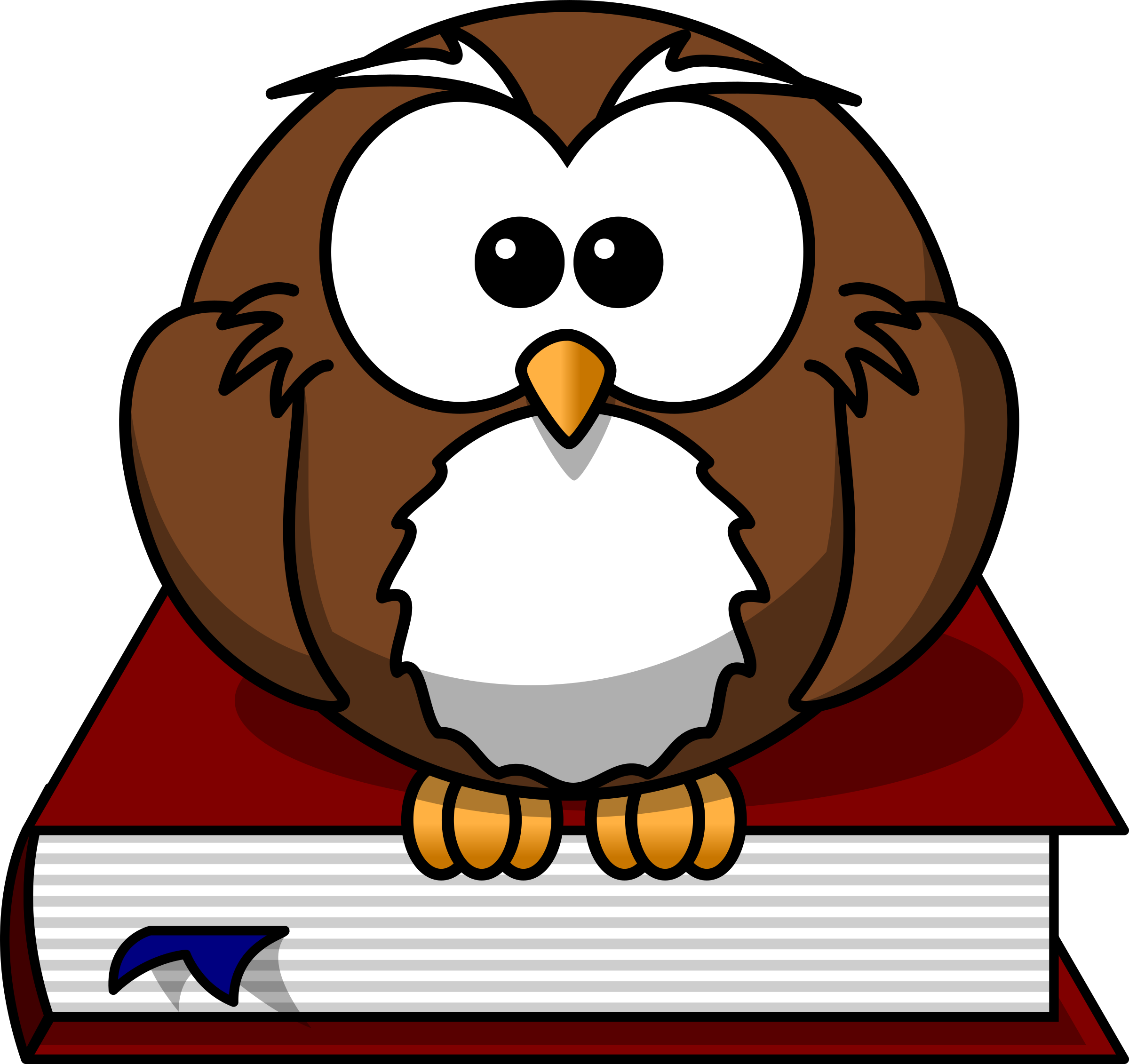 2400x2262 Cartoon owl sitting on a book by lemmling owls