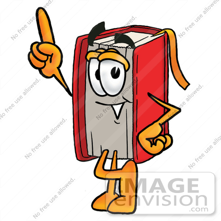 450x450 Clip Art Graphic of a Book Cartoon Character Pointing Upwards