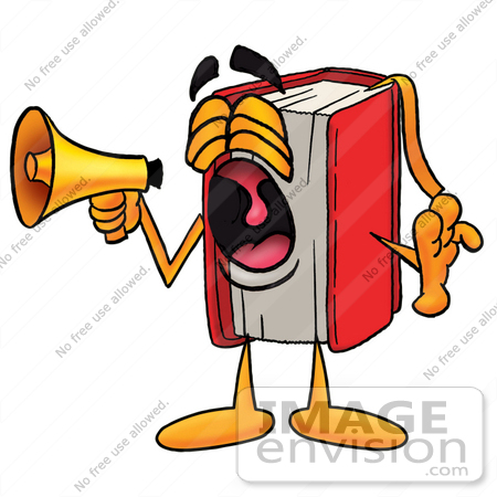 450x450 Clip Art Graphic of a Book Cartoon Character Screaming Into a