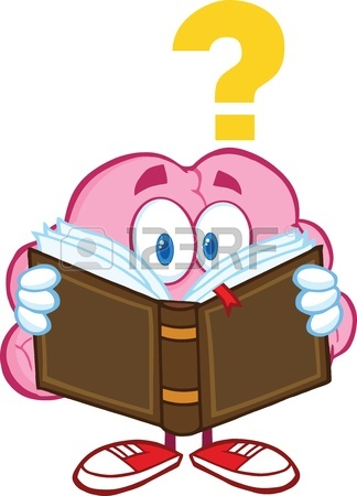 324x450 Funny Smiling Brain In Round Glasses Reading A Book, Cartoon