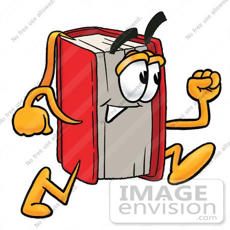 450x450 Clip Art Graphic Of A Book Cartoon Character Running