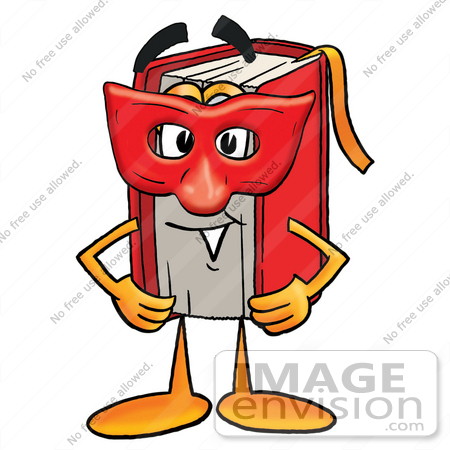 450x450 Clip Art Graphic Of A Book Cartoon Character Wearing A Red Mask