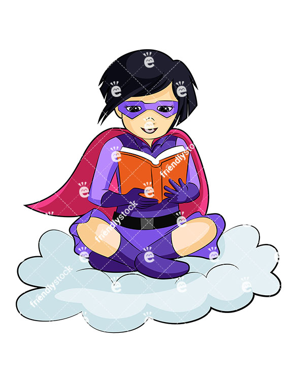 585x755 Asian Girl Super Heroine Reading A Book Cartoon Clipart