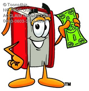 294x300 Clipart Image Of A Cartoon Book Character Holding Money