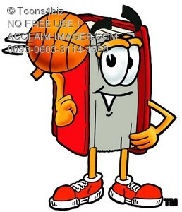 258x300 Clipart Image Of A Cartoon Book Character Spinning A Basketball