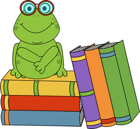 450x414 Frog And Books Clip Art