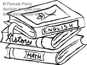 300x225 And White Clip Art Illustration Of A Stack Of Text Books