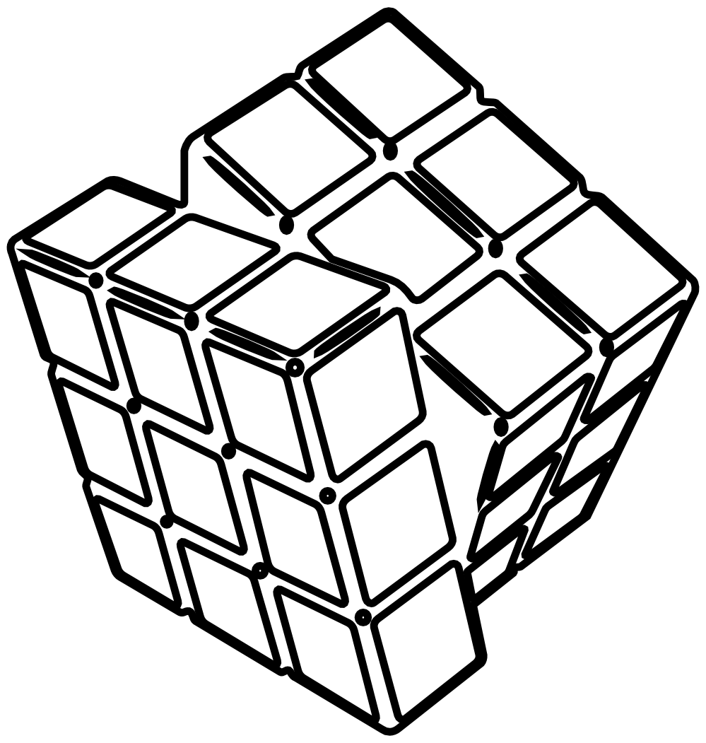 999x1051 Cube Clipart Black And White