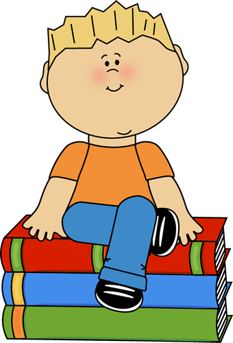 340x500 Kid Sitting On Books Clip Art