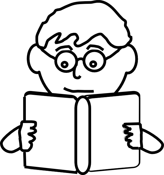 558x598 Boy Reading Outline Clip Art
