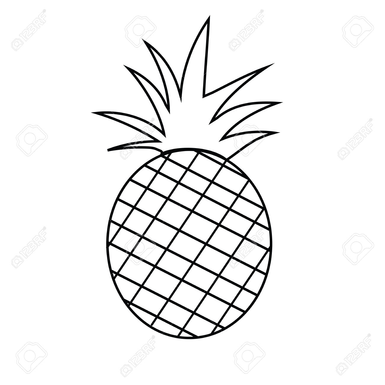 1300x1300 Unbelievable Pineapple Outline Clipart Panda Free Images Drawing
