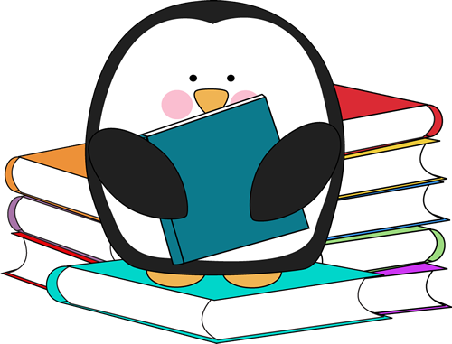 500x381 Penguin With Books Clip Art